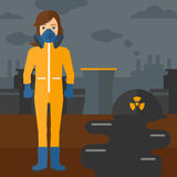 Woman in protective chemical suit. Stock Images