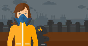 Woman in protective chemical suit. Stock Photo