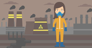 Woman in protective chemical suit. Stock Photography