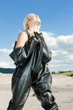 Woman in protective clothes Royalty Free Stock Photos