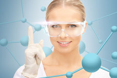 Woman in protective glasses and gloves Royalty Free Stock Photos