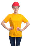 Woman in a protective helmet and yellow t-shirt. Isolated Stock Images
