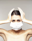 Woman with protective mask Royalty Free Stock Image