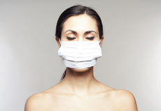 Woman with protective mask Royalty Free Stock Images