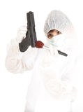 Woman in protective uniform and mask with gun Royalty Free Stock Photo