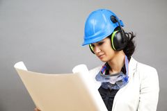 Woman in protective workwear Royalty Free Stock Images