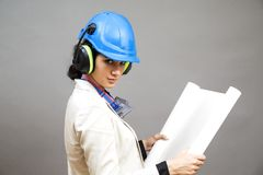 Woman in protective workwear Royalty Free Stock Image