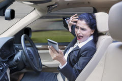 Woman Protects Her Face Before Accident Stock Photo