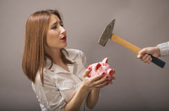Woman protects their savings Royalty Free Stock Photos