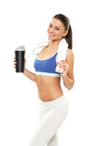 Woman with protein shake bottle on white background Stock Photos