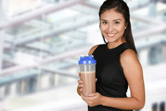 Woman With Protein Shake Stock Image