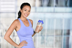 Woman With Protein Shake Royalty Free Stock Photo