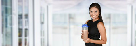 Woman With Protein Shake Stock Images