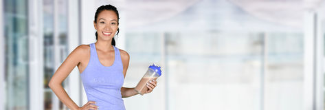 Woman With Protein Shake Stock Photography