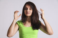 Woman proud of herself clap hands Royalty Free Stock Photography