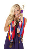 Woman proud of trophies Stock Photos