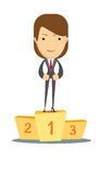 Woman proudly standing on the winning podium. Royalty Free Stock Image