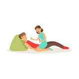 Woman providing first aid to a lying unconscious man vector Illustration. On a white background Royalty Free Stock Image