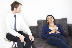 Woman at psychoanalysis stock photo