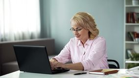 Woman psychologist holding online consultation, professionally helping people royalty free stock photos