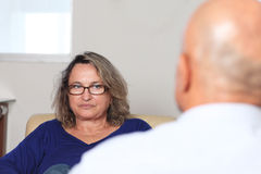 Woman at psychotherapy Stock Photo