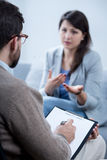 Woman on psychotherapy Royalty Free Stock Image