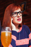 Woman In Pub Using Phone Stock Images