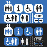 Man and woman public access icons set on blue and black background Royalty Free Stock Image