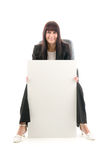 Woman with publicity flat. On white background royalty free stock photos