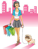 Woman with pug shopping in the city Royalty Free Stock Image
