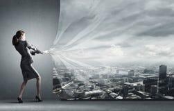 Woman pull curtain Stock Photos