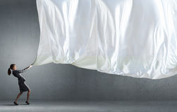 Woman pull curtain Royalty Free Stock Photo