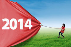 Woman pull new year of 2014 on the meadow Royalty Free Stock Photography