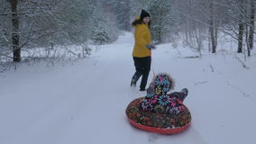 Woman pull a sled with a child in winter Park. Steadicam motion, 4K. The woman, sleigh, winter, game cameras, shooting in duranii, child snow winter 4k stock video footage