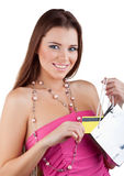 Woman pulled out a package Credit Card Royalty Free Stock Photo