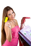 Woman pulled from the purse Credit card Stock Image