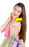 Woman pulled from the purse Credit card Stock Images