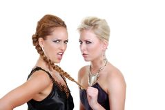 Woman pulling another ladies hair Royalty Free Stock Photos