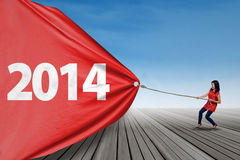 Woman pulling banner of new year 2014 Stock Image