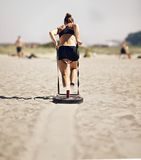 Woman Pulling Crossfit Sled Royalty Free Stock Photos