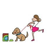 Woman pulling dog Stock Photo