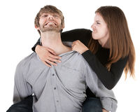 Woman Pulling on an Ear Royalty Free Stock Photography