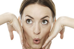 Woman pulling a funny face Royalty Free Stock Images