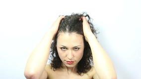 Woman pulling hair