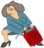 Woman Pulling A Heavy Gas Can Stock Image