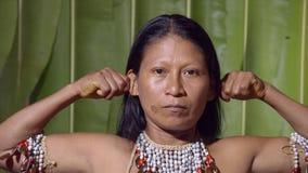 Woman Pulling His Ears. In Ecuador stock video footage