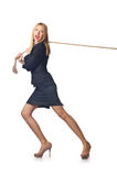 Woman pulling rope Royalty Free Stock Photos
