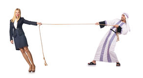 The woman pulling rope on white Stock Photos