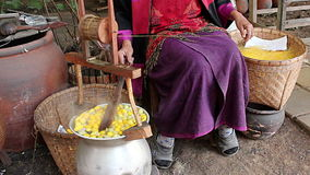 Woman pulling silk from cocoons silkworm Royalty Free Stock Photos