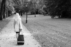 Woman pulling a suitcase in black and white. Elegant businesswoman pulling a suitcase behind her as she walks away from the camera through a wooded park in black Royalty Free Stock Image